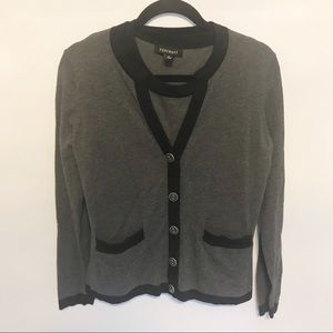 Foxcroft | Gray & Black Cotton Cardigan Twinset M